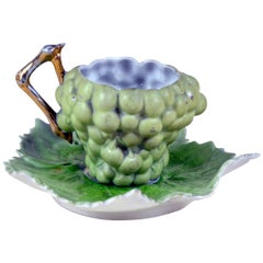 1890s Porcelain White Grape Shaped Coffee Cup Made in England