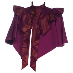 1890S Purple Wool Victorian With Taffeta Cape