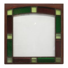 1890s Queen Anne Colorful Stained Glass Window with a Dark Wood Frame