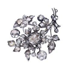 1890s Rose-Cut Diamond Silver and White Gold Flower Brooch
