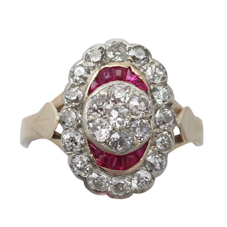 1890s Ruby and 1 32 Carat Diamond Yellow Gold Cocktail Ring