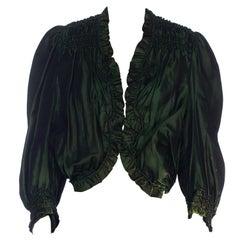 1890S Silk Green Victorian Top
