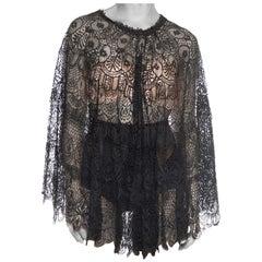 1890S Silk Handmade Cluny Bobbin Lace  Capelet