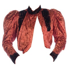 1890S Silk Victorian  Jacket With Mutton Sleeves And Ornate Jet Beading