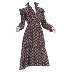 Victorian Black & Purple Organic Cotton 1890'S Ruffled Dress