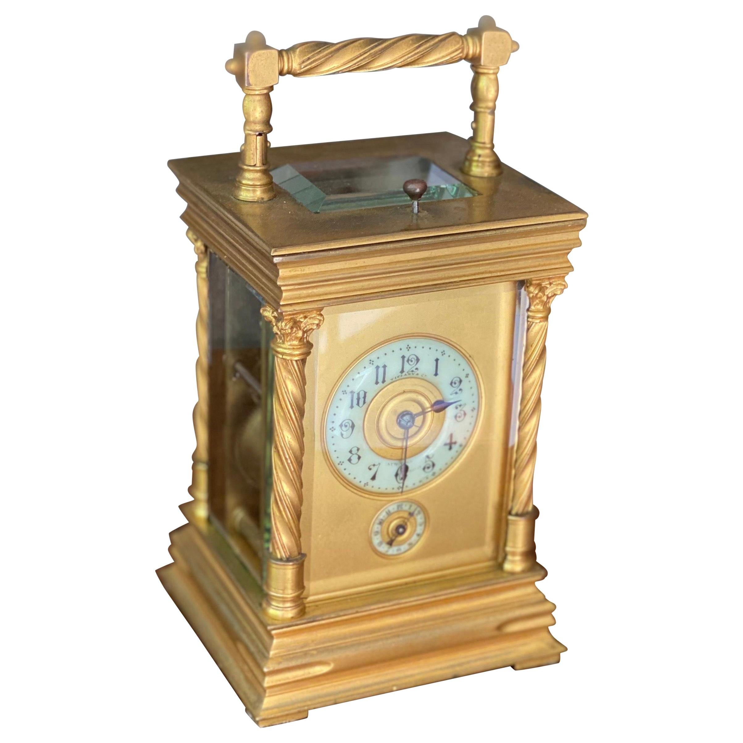 1890s Tiffany Gilt Brass Carriage Alarm Clock