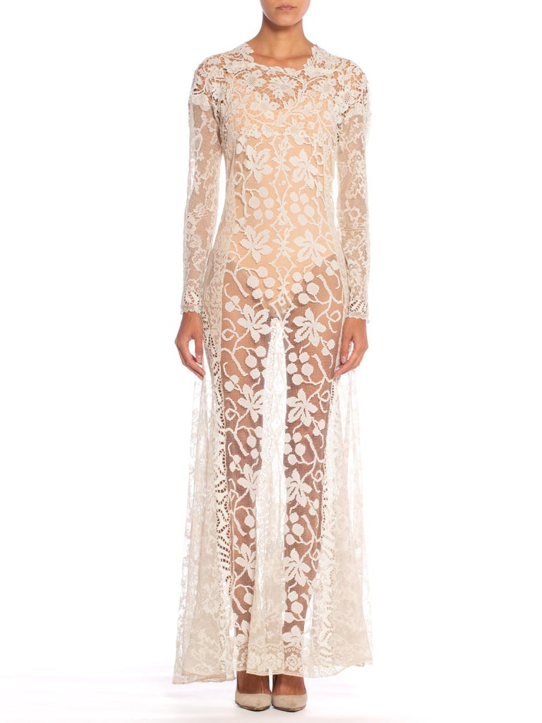 1930S Off White Vintage Bridal Gown Made From Heirloom Victorian Cotton & Silk Lace