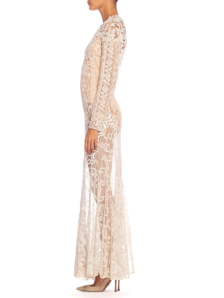 1930S Off White Vintage Bridal Gown Made From Heirloom Victorian Cotton & Silk  In Excellent Condition For Sale In New York, NY
