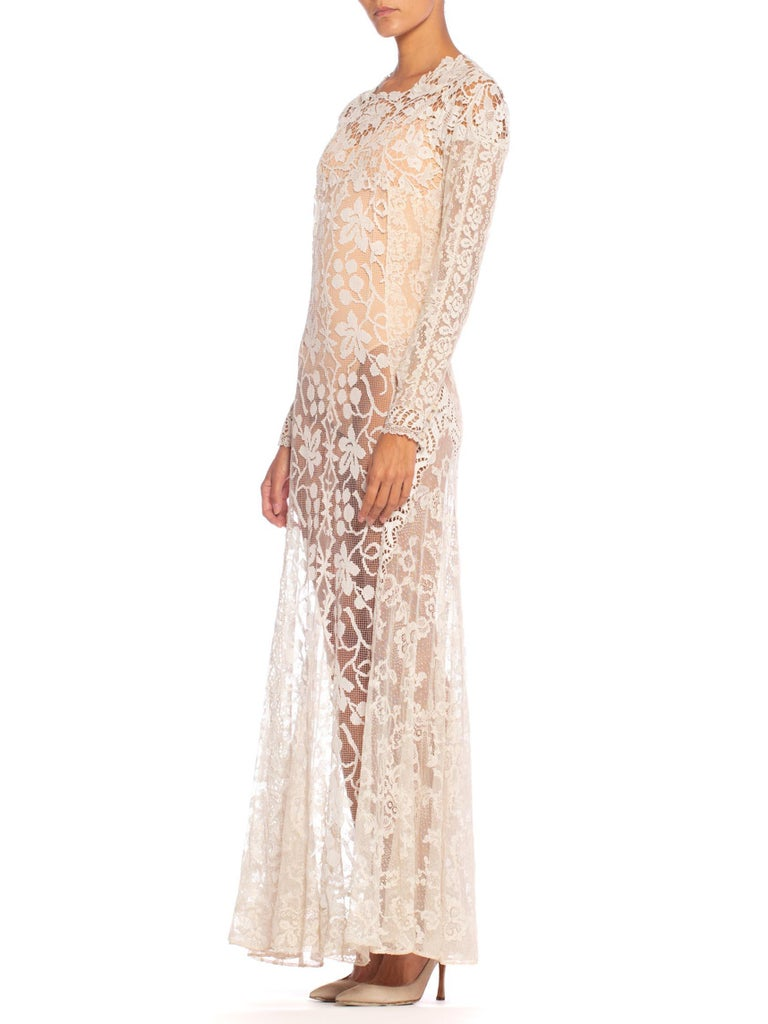 Women's 1930S Off White Vintage Bridal Gown Made From Heirloom Victorian Cotton & Silk  For Sale
