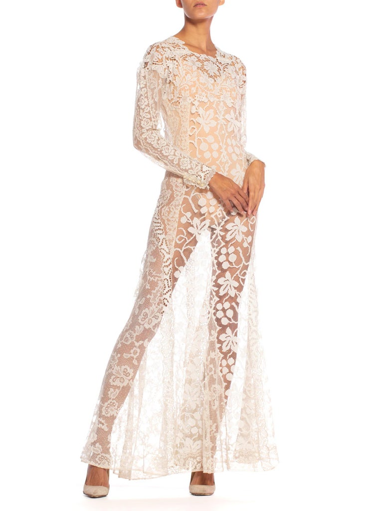 1930S Off White Vintage Bridal Gown Made From Heirloom Victorian Cotton & Silk  For Sale 3