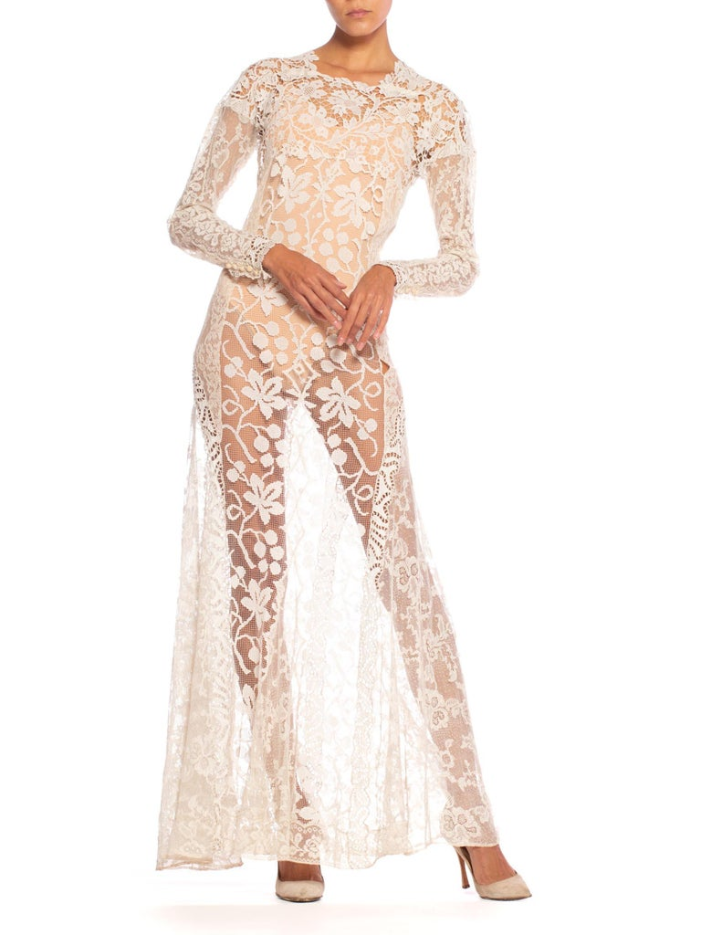 1930S Off White Vintage Bridal Gown Made From Heirloom Victorian Cotton & Silk  For Sale 4