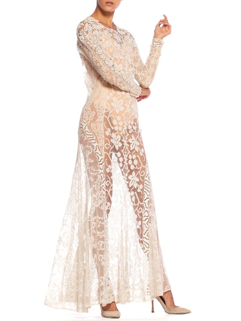 1930S Off White Vintage Bridal Gown Made From Heirloom Victorian Cotton & Silk  For Sale 5