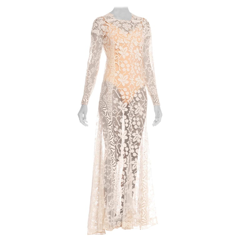 1930S Off White Vintage Bridal Gown Made From Heirloom Victorian Cotton & Silk  For Sale
