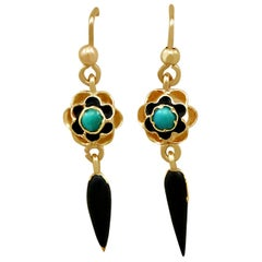 1890s Turquoise and Enamel Yellow Gold Earrings