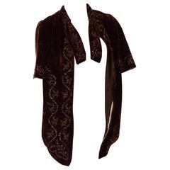 Victorian Cigar Brown Silk Velvet Hand Beaded 1880S Short Cape