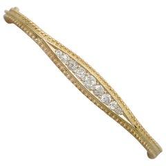 1890s Victorian 1.22 Carat Diamond and Yellow Gold Bangle