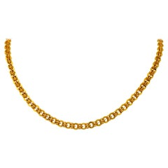 1890's Victorian 14 Karat Gold Circular Chain Link Necklace