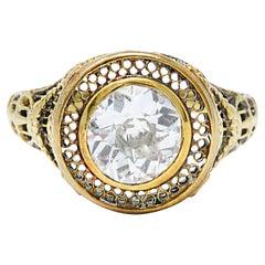 1890's Victorian 1.61 Carats Diamond 14 Karat Gold Lattice Engagement Ring GIA