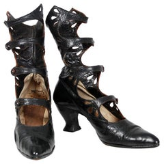 1890's Victorian Antique Couture Cut-Out Black Leather High Top Shoe Boots