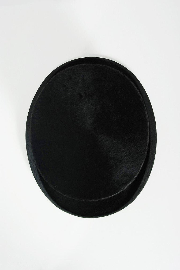 1890's Victorian Antique Dunn & Co Designer Black Silk Plush Steampunk Top Hat  In Good Condition For Sale In Beverly Hills, CA