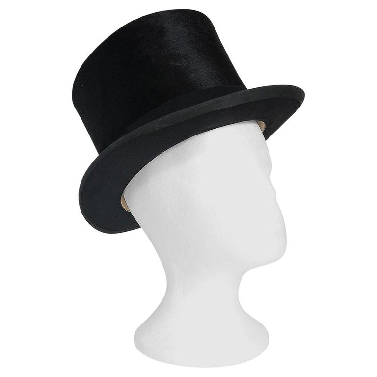 1890's Victorian Antique Dunn & Co Designer Black Silk Plush Steampunk Top Hat  For Sale