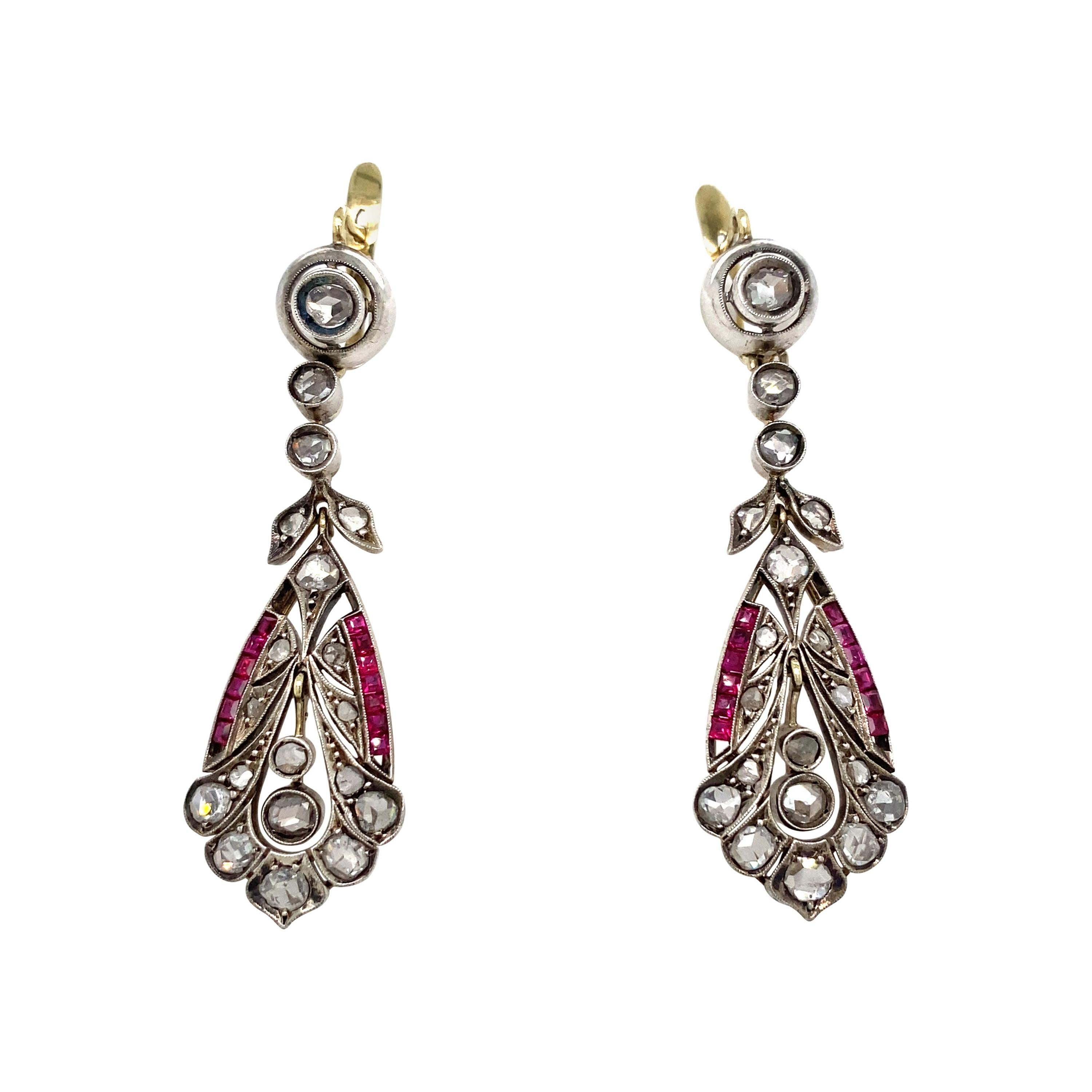 1890s Victorian Diamond Ruby Gold and Silver Drop Earrings
