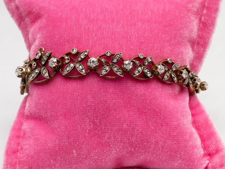 1890s Victorian Diamonds, Silver in Gold Graduated Bracelet with Floral Motifs For Sale 3