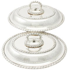 1890s Victorian English Sterling Silver Entrée Dishes