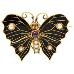 1890's Victorian Garnet Pearl Ruby Enamel 18 Karat Gold Butterfly Watch Brooch
