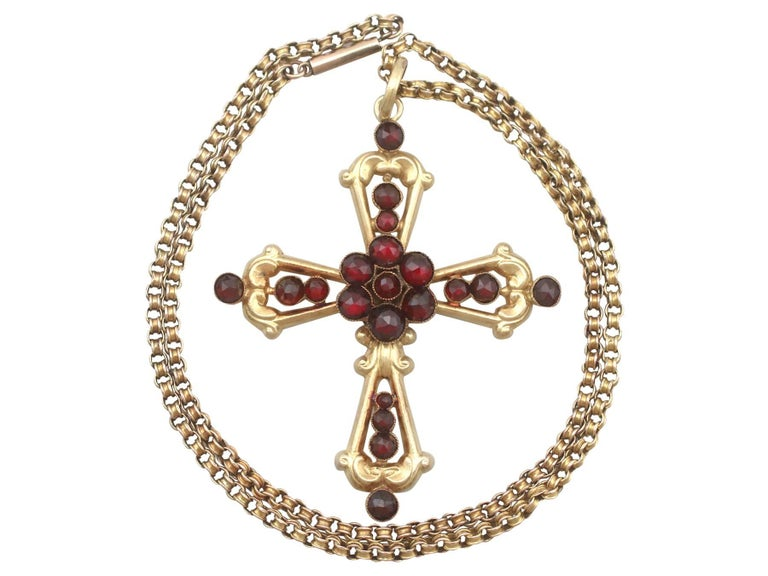 1890s victorian garnet yellow gold cross pendant for sale at 1stdibs an impressive antique victorian 556 carat garnet and 15 karat yellow gold cross pendant with a aloadofball Choice Image