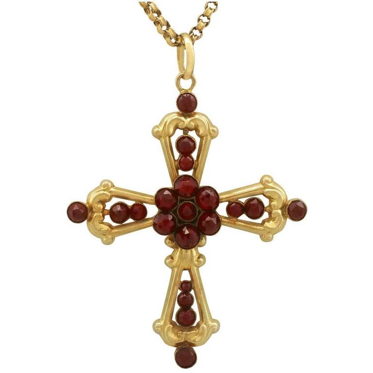 1890s Victorian Garnet Yellow Gold Cross Pendant