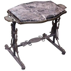 1890s Victorian Handwrought Bronze Side Table with Marble Top