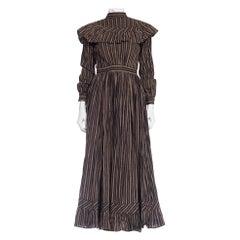 1890S Victorian Home Spun Printed Cotton Calico Floral  Dress