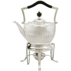 1890s Victorian Queen Anne Style Sterling Silver Spirit Tea Kettle