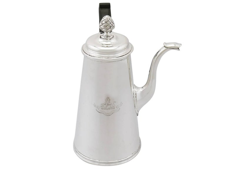19th Century 1890s Victorian Sterling Silver Coffee Pot For Sale