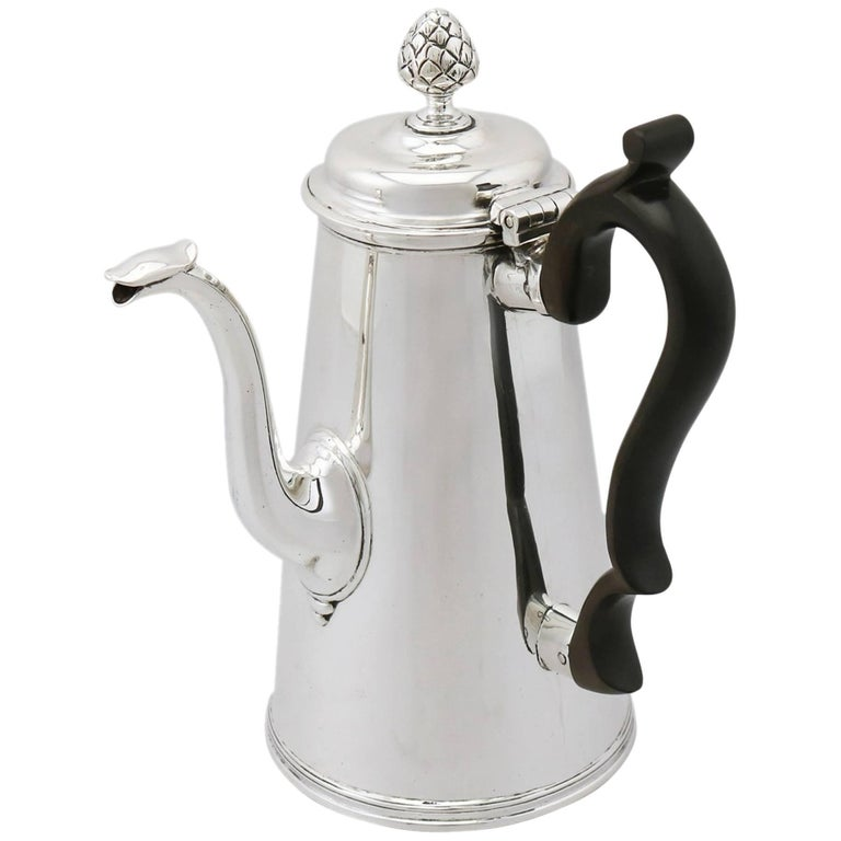1890s Victorian Sterling Silver Coffee Pot For Sale