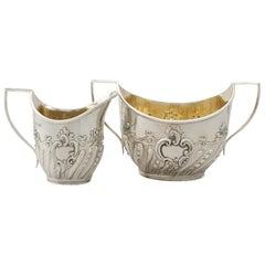 1890s Victorian Sterling Silver Cream Jug and Sugar Bowl