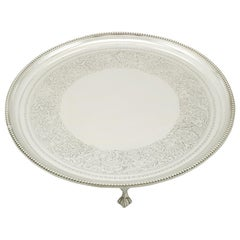 1890s Victorian Sterling Silver Salver