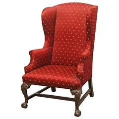 1890s Wing Back Chair with Carved Dark Tone Wood Legs and Red Gold Upholstery