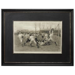 1891 Football Match and Association Game after W. Overend, Antique Photogravure