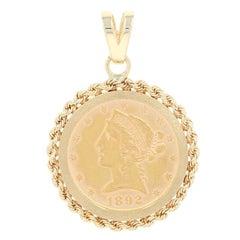 1892 American Half Eagle $5 Coin Pendant, 14k Gold & 900 Fine Gold Liberty Coin