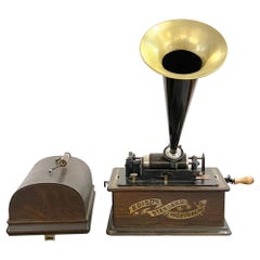 1892 Antique Edison Phonograph with Five Cylinder Records, Refurbished