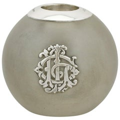 1893 Antique Victorian Frosted Glass and Sterling Silver Match Striker