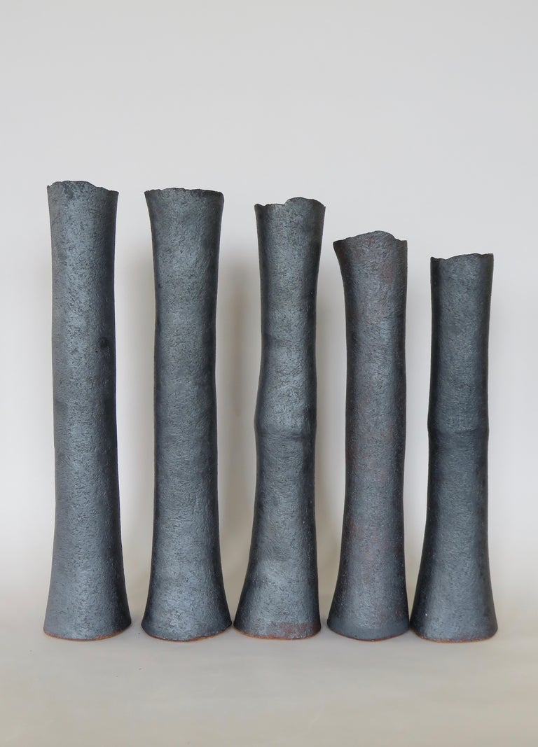 Tubular Metallic Black Ceramic Stoneware Vase For Sale 6