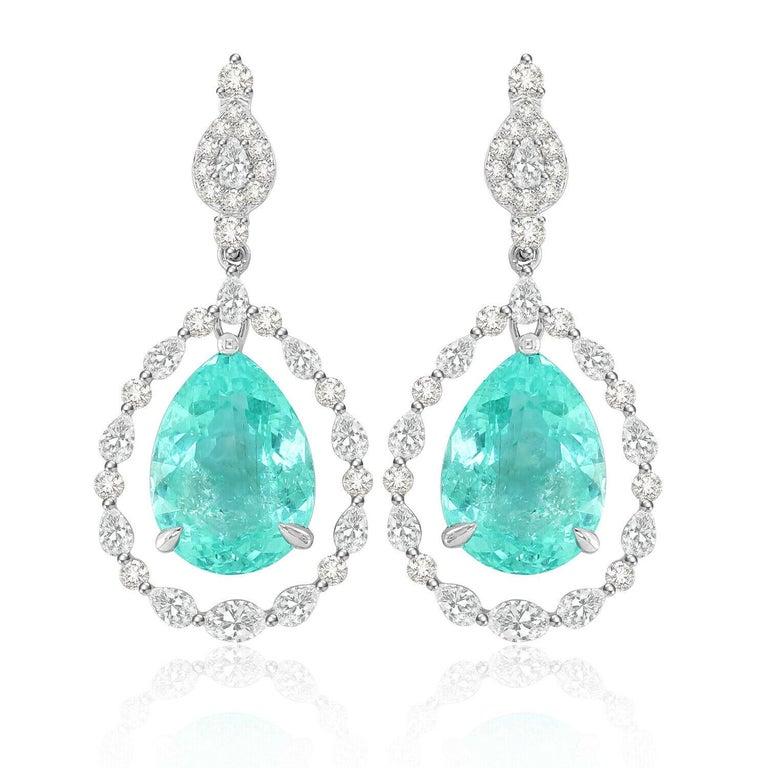Modern 18.95 Carat Paraiba Tourmaline Diamond 18 Karat White Gold Earrings For Sale