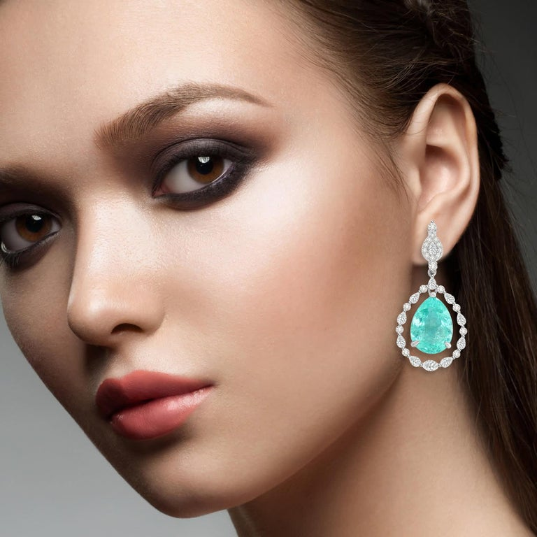 Mixed Cut 18.95 Carat Paraiba Tourmaline Diamond 18 Karat White Gold Earrings For Sale