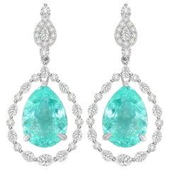 18.95 Carat Paraiba Tourmaline Diamond 18 Karat White Gold Earrings