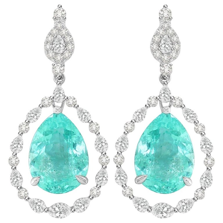 18.95 Carat Paraiba Tourmaline Diamond 18 Karat White Gold Earrings For Sale