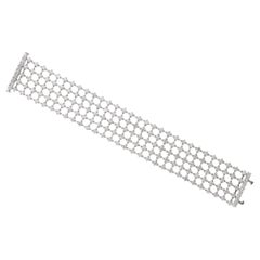 18.95 Carat White GVS Diamonds 18 Karat White Gold 5 Rows Tennis Bracelet
