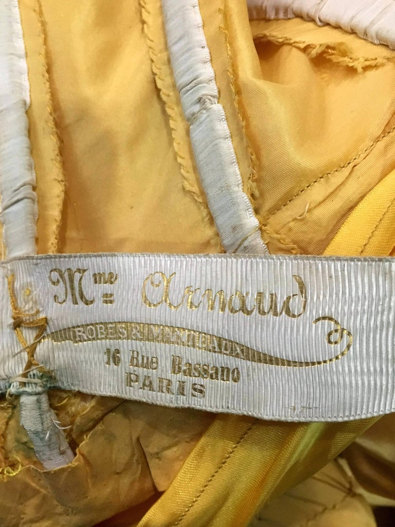 Antique 1895 French Couture Victorian Floral Embroidered Yellow Satin Gown For Sale 6